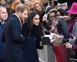Prince Harry and Meghan Markle during a Royal visit to Nottingham Contemporary. Photo credit should read: M6027D/EMPICS Entertainment
