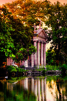 """""""The evening reflections at Villa Borghese – Rome""""…<br /> <br /> I stumbled into photography just before graduation at the U of TN while volunteering at a local hospital where I was influenced to attend Brooks Institute.  The instructors preached the technical aspects of photography, and upon graduation…we could implement our own artistic vision.  As a commercial photographer since graduation, I have had little time to express my artistic vision…until I went to Italy for the first time, where I discovered my true love and passion!  I consider myself a """"contemplative"""" photographer, and as such, I have a three-part process to achieve my final presentation for each image: the discovery, how I perceive the image creation, and how I hope others will perceive the image.  This artistic pursuit, I imagine, is similar to Michelangelo viewing a piece of marble for the first time.  Villa Borghese in Roma is a famous Gardens and Museum begun in the early 17th century, highlighted by a """"Temple of Aesculapius"""" at the garden lake.  Surrounding this small lake is a three-foot iron fence, which I now affectionately call """"Il lago di dolore"""", or Lake Pain!  I tried to cross this iron fence with camera in hand and a 20lb bag on my shoulder…needless to say, it did not go well!  Despite the intense pain, I continued to take 60 images around the lake, and upon return home, I stubbornly refused to look at them until recently.  My disdain for Lake Pain kept me from discovering the true artistic vision I first saw when I began creating these images. I finally gave into the contempt I had for the Lake and began working on several images.  Perhaps, the viewer will perceive the great pain it took to finally engender a feeling of solace and peace in the true vision, and find that suffering eventually brought forth eminent beauty.  As for this photographer, Il lago di dolore will be a constant reminder that the creation of great art sometimes endures great pain!"""