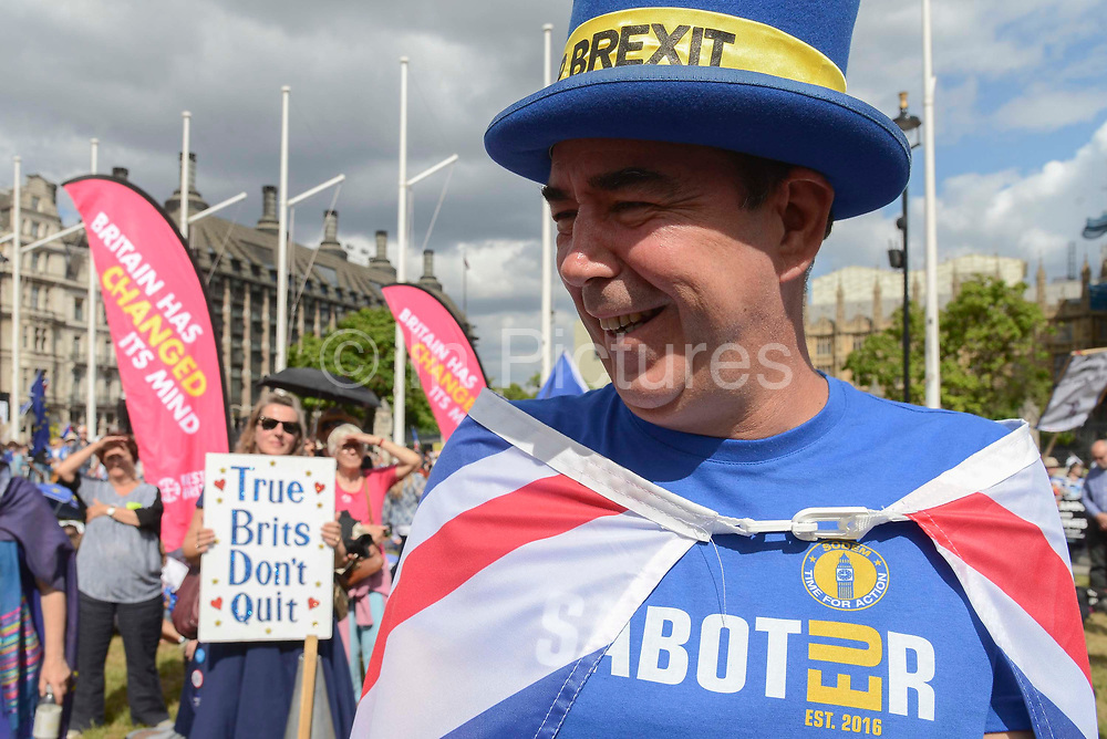 Steve Bray of pro EU campaign group SODEM  in Parliament Square. With three days to go before the next Prime Minister of Great Britain is voted in by Conservative Party members, Boris Johnson looks to be the front runner. Thousands of people march through the streets of London demanding to remain in Europe and against  Boris Johnson as Prime Minister on 20th July, 2019 in London, United Kingdom.