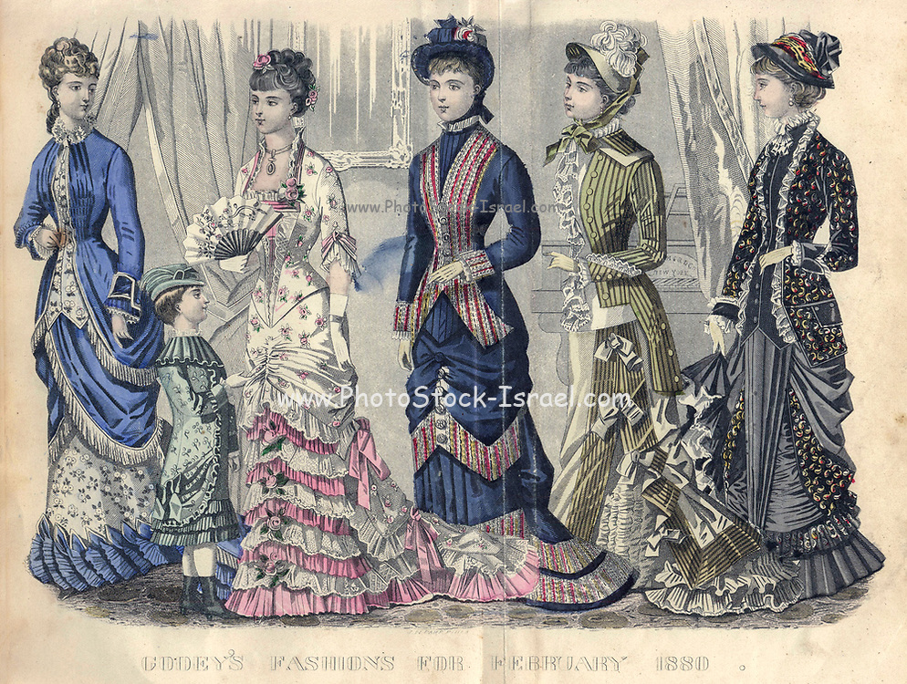 Colour drawing of Godey's women's Fashion for February 1880 from Godey's Lady's Book and Magazine, 1880 Philadelphia, Louis A. Godey, Sarah Josepha Hale,