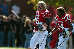 16 October 2010:  Dane Zumbahlen and Kelvyn Hemphill walk to center field for the coin toss during a game where the North Dakota State Bison lost to the Illinois State Redbirds 34-24, meeting at Hancock Stadium on the campus of Illinois State University in Normal Illinois.