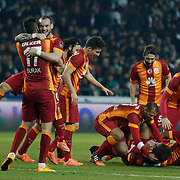 Galatasaray's players celebrate goal during their Turkish Super League soccer derby match Torku Konyaspor between Galatasaray at the Konya Buyuksehir Belediyesi Torku Arena at Selcuklu in Konya Turkey on Saturday, 13 December 2014. Photo by Kurtulus YILMAZ/TURKPIX