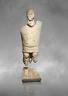 9th century BC Giants of Mont'e Prama  Nuragic stone statue of a boxer, Mont'e Prama archaeological site, Cabras. Museo archeologico nazionale, Cagliari, Italy. (National Archaeological Museum) - Grey Art Background .<br />  <br /> If you prefer to buy from our ALAMY STOCK LIBRARY page at https://www.alamy.com/portfolio/paul-williams-funkystock/nuragic-artefacts.html - Type intoo the LOWER SEARCH WITHIN GALLERY box to refine search by adding background colour, etc<br /> <br /> Visit our NURAGIC PHOTO COLLECTIONS for more photos to download or buy as wall art prints https://funkystock.photoshelter.com/gallery-collection/Nuragic-Nuraghe-Towers-Nuragic-Artefacts-of-Sardinia-Pictures-Images/C0000M6ZtTuHVsSo