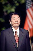 Chinese Premier Zhu Rongji during the official arrival ceremony at the White House April 8, 1999 in Washington D.C.