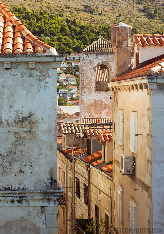 """A view of old residential buildings within the walls of the old city of Dubrovnik, Croatia.<br /> <br /> Dubrovnik serves as the official setting of """"King's Landing"""" from the popular TV show """"Game of Thrones""""."""