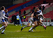 Sale Sharks wing Byron McGuigan offloads the ball during a Gallagher Premiership Round 9 Rugby Union match, Friday, Feb 12, 2021, in Leicester, United Kingdom. (Steve Flynn/Image of Sport)