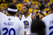 Golden State Warriors forward Kevin Durant (35) walks off the court during a timeout in game play against the Cleveland Cavaliers during Game 5 of the NBA Finals at Oracle Arena in Oakland, Calif., on June 12, 2017. (Stan Olszewski/Special to S.F. Examiner)