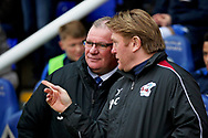 Scunthorpe Manager Stuart McCall and Peterborough manager Steve Evans sharing a joke before the EFL Sky Bet League 1 match between Peterborough United and Scunthorpe United at London Road, Peterborough, England on 1 January 2019.