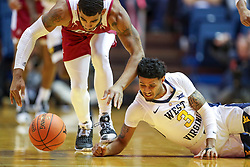 Nov 28, 2018; Morgantown, WV, USA; West Virginia Mountaineers guard James Bolden (3) dives for a loose ball during the first half against the Rider Broncs at WVU Coliseum. Mandatory Credit: Ben Queen-USA TODAY Sports