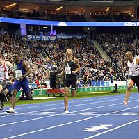 14.02.2020, Mercedes Benz Arena, Berlin, GER, ISTAF-Indoor 2020 Berlin, im Bild <br /> 60m Men - Finale (v.l.n.r.)<br /> Michael Pohl (GER)<br /> Aleksandar Askovic (GER)<br /> Emre Zafar Barnes (TUR) - Sieger<br /> Joshua Hartmann (GER)<br /> James Dsaolu (GER)<br /> Diogo Antunes (POR)<br /> <br />      <br /> Foto © nordphoto / Engler