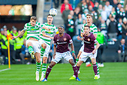 James Forrest(#49) of Celtic FC clears the ball during the Betfred League Cup semi-final match between Heart of Midlothian FC and Celtic FC at the BT Murrayfield Stadium, Edinburgh, Scotland on 28 October 2018.