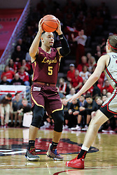 NORMAL, IL - February 02: Marques Townes defended by Matt Chastain during a college basketball game between the ISU Redbirds and the University of Loyola Chicago Ramblers on February 02 2019 at Redbird Arena in Normal, IL. (Photo by Alan Look)