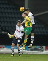 Preston North End's Jordan Storey jumps with Norwich City's Jamal Lewis <br /> <br /> Photographer Mick Walker/CameraSport<br /> <br /> The EFL Sky Bet Championship - Preston North End v Norwich City - Wednesday 13th February 2019 - Deepdale Stadium - Preston<br /> <br /> World Copyright © 2019 CameraSport. All rights reserved. 43 Linden Ave. Countesthorpe. Leicester. England. LE8 5PG - Tel: +44 (0) 116 277 4147 - admin@camerasport.com - www.camerasport.com