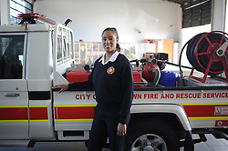South Africa - Cape Town - 6 August 2020 - (Women's Day series) Fire Fighter Kim Carolissen posing for a picture infront of a fire engine at Brackenfell Fire station. Firefighting has historically been a predominantly male profession throughout the world. Picture: Henk Kruger/African News Agency (ANA)