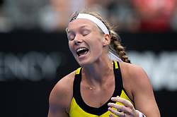 January 11, 2019 - Sydney, NSW, U.S. - SYDNEY, AUSTRALIA - JANUARY 11: Kiki Bertens (NED) unhappy with herself in her game against Ashleigh Barty (AUS) at The Sydney International Tennis on January 11, 2018, at Sydney Olympic Park Tennis Centre in Homebush, Australia. (Photo by Speed Media/Icon Sportswire) (Credit Image: © Steven Markham/Icon SMI via ZUMA Press)