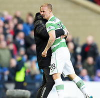 01/02/15 SCOTTISH LEAGUE CUP SEMI-FINAL<br /> CELTIC v RANGERS<br /> HAMPDEN - GLASGOW<br /> Celtic's Leigh Griffiths (right) celebrates his goal with manager Ronny Deila