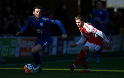 Leicester City's Ben Chillwell (left) and Fleetwood Towns' Wes Burns battle for the ball during the FA Cup, third round match at Highbury Stadium, Fleetwood