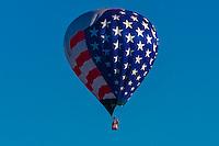 Aerial view of hot air balloons flying at the Albuquerque International Balloon Fiesta, Albuquerque, New Mexico USA.