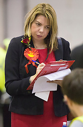 Scottish Parliament Election 2016 Royal Highland Centre Ingliston Edinburgh 05 May 2016; a Labour Count Agent keeps a watchful eye on the papers during the Scottish Parliament Election 2016, Royal Highland Centre, Ingliston Edinburgh.<br /> <br /> (c) Chris McCluskie | Edinburgh Elite media
