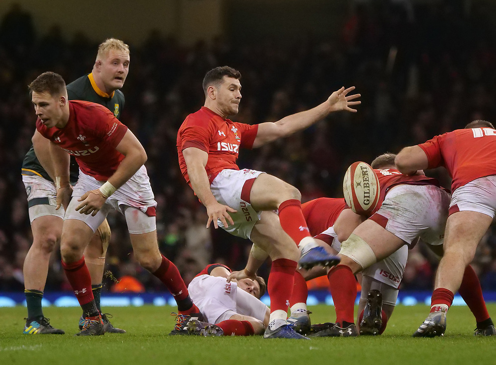 Wales' Tomos Williams clears the ball <br /> <br /> Photographer Ian Cook/CameraSport<br /> <br /> Under Armour Series Autumn Internationals - Wales v South Africa - Saturday 24th November 2018 - Principality Stadium - Cardiff<br /> <br /> World Copyright © 2018 CameraSport. All rights reserved. 43 Linden Ave. Countesthorpe. Leicester. England. LE8 5PG - Tel: +44 (0) 116 277 4147 - admin@camerasport.com - www.camerasport.com