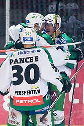 Team HDD Tilia Olimpija during ice-hockey match between HDD Tilia Olimpija and EHC Liwest Black Wings Linz in 18th Round of EBEL league, on November 5, 2010 at Hala Tivoli, Ljubljana, Slovenia. (Photo By Matic Klansek Velej / Sportida.com)