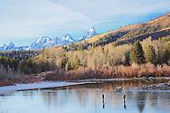 Ice skaters, Slide Lake, Grand Tetons, Jackson Hole, Wyoming