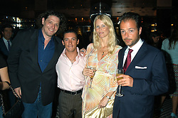 Left to right, MARCO PIERRE WHITE, Jockey FRANKIE DETTORI, Model CLAUDIA SCHIFFER and her husband MATTHEW VAUGHN at a party hosted by Frankie Dettori, Marco Pierre White and Edward Taylor to celebrate the launch of Frankie's Italian Bar & Grill at 3 Yeoman's Row, London SW3 on 2nd September 2004.