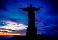Christ the Redeemer (Cristo Redentor) statue at sunset, Corcovado Mountain, Rio de Janeiro, Brazil