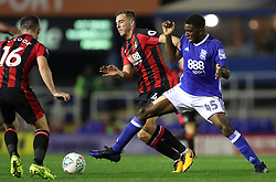 Birmingham City's Wes Harding (right) and AFC Bournemouth's Dan Gosling battle for the ball during the Carabao Cup, Second Round match at St Andrew's, Birmingham.
