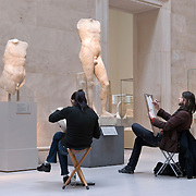 Artists Sketching in the Greek Sculpture Court at the Metropolitan Museum of Art in NYC