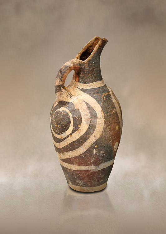 Minoan decorated Kamares  style jug with swirl pattern, Poros cemetery 1800-1650 BC; Heraklion Archaeological  Museum. .<br /> <br /> If you prefer to buy from our ALAMY PHOTO LIBRARY  Collection visit : https://www.alamy.com/portfolio/paul-williams-funkystock/minoan-art-artefacts.html . Type -   Heraklion   - into the LOWER SEARCH WITHIN GALLERY box. Refine search by adding background colour, place, museum etc<br /> <br /> Visit our MINOAN ART PHOTO COLLECTIONS for more photos to download  as wall art prints https://funkystock.photoshelter.com/gallery-collection/Ancient-Minoans-Art-Artefacts-Antiquities-Historic-Places-Pictures-Images-of/C0000ricT2SU_M9w