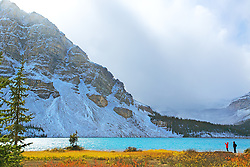 Bow Lake, photographer,  autumn color, clearing storm, Banff National Park