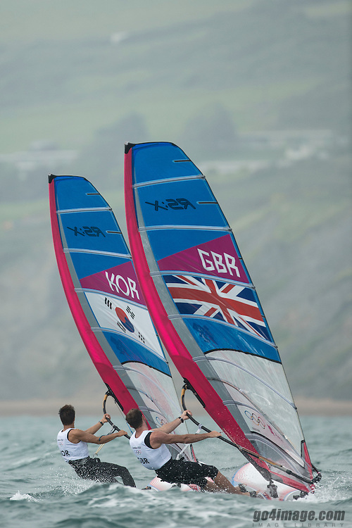 2012 Olympic Games London / Weymouth<br /> RSX man racing day 1 <br /> RS:X MenGBRDempsey Nick<br /> RS:X MenKORLee Tae Hoon
