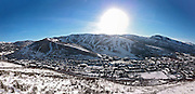 SHOT 3/2/17 4:41:30 PM - Aerial photos of Park City, Utah. Park City lies east of Salt Lake City in the western state of Utah. Framed by the craggy Wasatch Range, it's bordered by the Deer Valley Resort and the huge Park City Mountain Resort, both known for their ski slopes. Utah Olympic Park, to the north, hosted the 2002 Winter Olympics and is now predominantly a training facility. In town, Main Street is lined with buildings built primarily during a 19th-century silver mining boom that have become numerous restaurants, bars and shops. (Photo by Marc Piscotty / © 2017)