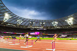 London, 2017 August 07. A brooding evening sky over the London Stadium during the Women's 400m hurdles semi final on day four of the IAAF London 2017 world Championships at the London Stadium. © Paul Davey.