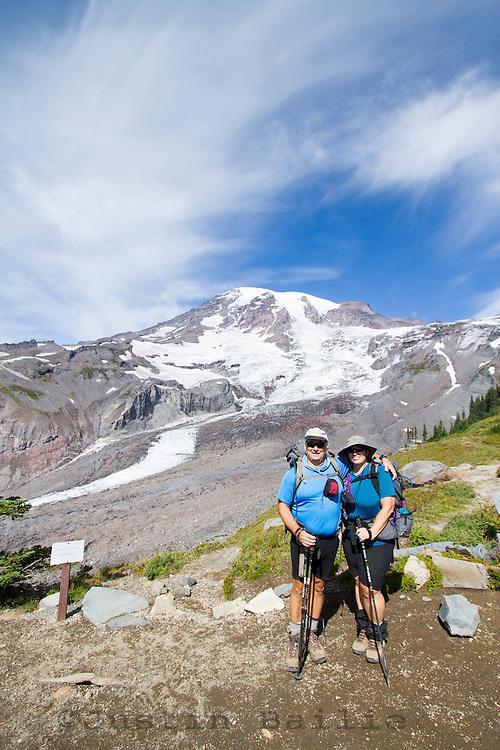 Hikers at the Paradise Park area of Mt. Rainier National Park, WA.