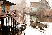 Winter scene on Dal lake houseboats