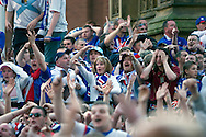 Fans of Glasgow Rangers in the centre of Manchester watching the UEFA Cup final against Zenit St. Petersburg on a large screen in Albert Square, the location of one of the UEFA Fan Zones. The match was staged at the City of Manchester Stadium and was won by the Russian team by two goals to nil. It was Rangers' first European final appearance since they won the Cup-Winners Cup in 1972 and around 150,000 fans gathered in Manchester.