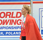 Poznan, POLAND, BLR W1X, Ekaterina KARSTEN-KHODOTOVITCH, Gold Medalist in the women's single sculls, awards dock, the 2009 FISA World Rowing Championships. held on the Malta Rowing lake, Saturday  29/08/2009  [Mandatory Credit. Peter Spurrier/Intersport Images]