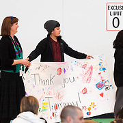 Students made large posters thanking those that were responsible for building the new gymnasium during a ribbon cutting ceremony in the new gymnasium at Eastwood Elementary School in Hillsboro, Ore., on Tuesday, Feb. 4, 2020.