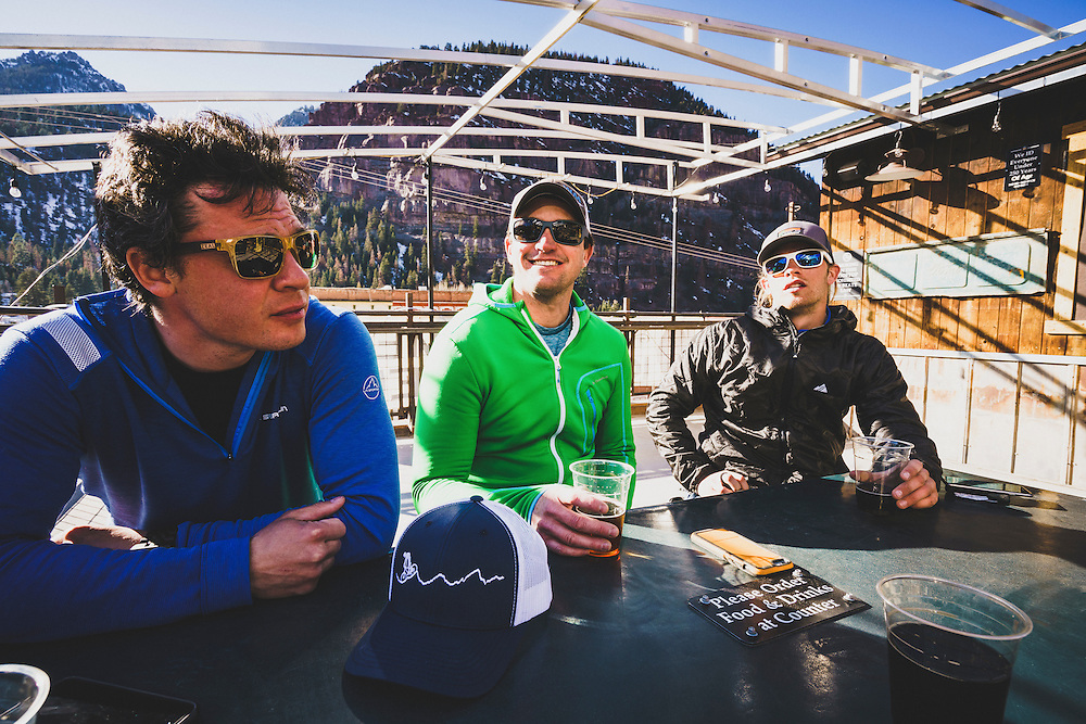 Day 4 - Mark Kogelmann, Josh Lincoln, and Ryan Riggins apres backcountry ski at the Ouray Brewery, Colorado.