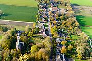 Nederland, Groningen, Gemeente De Marne, 04-11-2018; het dorp Pieterburen, met hoofdstraat en Petruskerk.<br /> Pieterburen village.<br /> luchtfoto (toeslag op standaard tarieven);<br /> aerial photo (additional fee required);<br /> copyright © foto/photo Siebe Swart