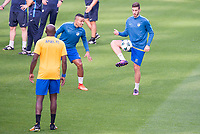 Lorenzo Ebecillo and Minas Antoniou during training session before Champions League match between Real Madrid and Apoel at Santiago Bernabeu Stadium in Madrid, Spain September 12, 2017. (ALTERPHOTOS/Borja B.Hojas)