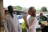 Matero Reference Clinic Senior Clinical officer Mr. Jones Mwamba (l) talks to Gabby Logan in Lusaka, Zambia  on Wednesday 12 November 2014.
