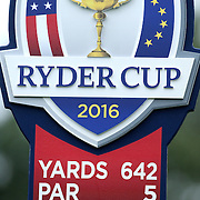 Ryder Cup 2016.  The Ryder Cup sign showing yard and par information during practice day at the Hazeltine National Golf Club on September 28, 2016 in Chaska, Minnesota.  (Photo by Tim Clayton/Corbis via Getty Images)