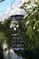 Empty birdfeeder in the snow