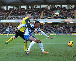 Reading's Jordan Obita is challenged by Watford's Sean Murray - Photo mandatory by-line: Nigel Pitts-Drake/JMP - Tel: Mobile: 07966 386802 11/01/2014 - SPORT - FOOTBALL - Vicarage Road - Watford - Watford v Reading - Sky Bet Championship
