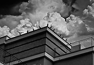 conceptual urban scene with crows on rooftop with stormy sky