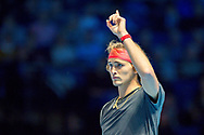 Alexander 'Sasha' Zverev of Germany challenges a call during the Nitto ATP World Tour Finals at the O2 Arena, London, United Kingdom on 16 November 2018. Photo by Martin Cole