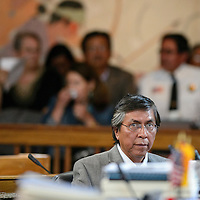 072114  Adron Gardner/Independent<br /> <br /> Navajo Nation Council Delegate Leonard Tsosie looks on during the start of the summer session of the Navajo Nation Tribal Council in Window Rock Monday.